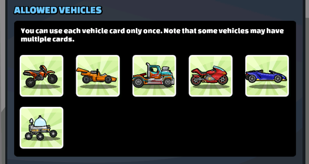 Nitro November Allowed Vehicles